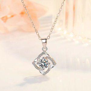 925 Sterling Silver Diamond Pendant Necklace